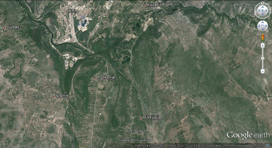 Fig. 1: Location of Biskupija. Credit: Google Earth