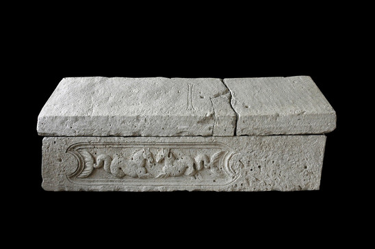 Fig. 10: 'Borna's sarcophagus' made of Roman spolia found by the church of St Mary at Crkvina in Biskupija; limestone; 224 × 82 × 45 cm; Museum of Croatian Archaeological Monuments. Credit: Z Alajbeg