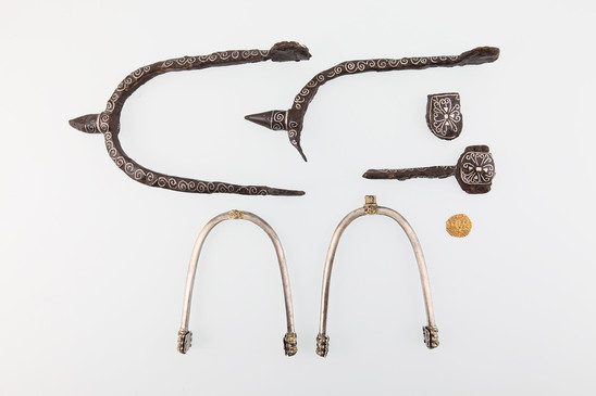 Fig. 8: Carolingian spurs from 8th century Slavic cemeteries in Biskupija; iron, silver; above pair: 16,7 × 8 cm, lower pair: 10,5 × 7 cm; Museum of Croatian Archaeological Monuments. Credit: Z. Alajbeg