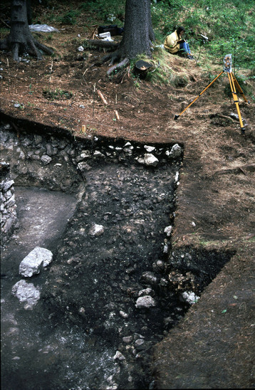 Fig. 11: Gradišče above Bašelj, charred layer, excavations of the National Museum of Slovenia in 1998. Credits: National Museum of Slovenia, Timotej Knific