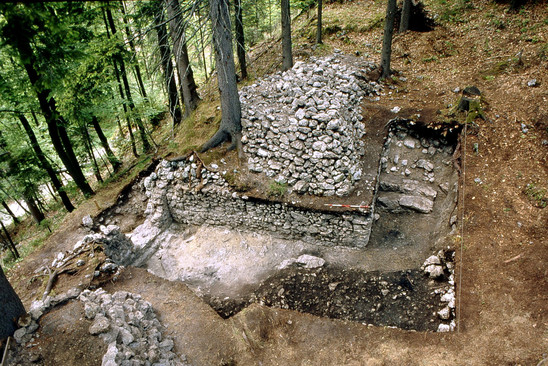Fig. 8: Gradišče above Bašelj, excavations of the National Museum of Slovenia in 1998. Credits: National Museum of Slovenia, Jože Hanc