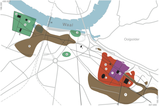 Fig. 6: Nijmegen ca. AD 70-260. 1 – Army camp of the 10th legion on the Hunerberg, 2 – Military town around the army camp the Hunerberg, 3 – Settlement on the Waalkade, 4 – Settlement 'Vlaamse Gas', 5 – Ulpia Noviomagus, 6 – Burial site Ulpia Noviomagus, 7 – Burial site 10th legion. A – Market hall, B – Headquarters army camp Hunerberg, C – Amphitheatre, D – Mansio, E – Temples for Mercury and Fortuna, F – Bathhouse, G – Temple, H – Bridge over the Waal river. Credit: Bureau Archaeology and Monuments, City of Nijmegen