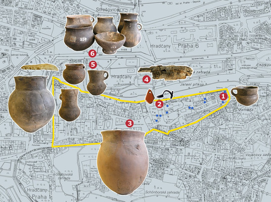 Fig. 4: Map of Prague Castle area with Prehistoric finds. Marked locations: 1 – Jiřská Street – Eneolithic period; 2 – Slévárenské Court – Roman Empire; 3 – Hradčanské Squarre – Bronze Age; 5 – Lumbe Garden – Eneolithic period; 6 – Jelení street – Eneolithic and Bronze Age. Blue points within the Prague Castle area mark prehistoric finds, in situ as well as in secondary positions. Credit: Institute of Archaeology of the Academy of Sciences of the Czech Republic, Prague Castle