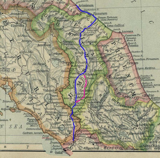 Fig. 10: Map: Ancient Rome Flaminia way path in blue colour. Diverticulum via Flaminia nova in violet colour. Credit: Wikipedia