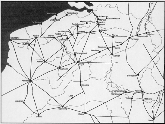 Fig. 2: Velzeke in the Roman road system of Gallia Belgica. Credit: The Provinciaal Archeologisch Museum Velzeke