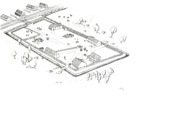 Fig. 7: Reconstruction of the Roman road station at Velzeke, state ca. AD 170. Credit: E. Van de Geguchte